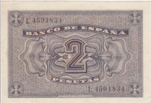 2 pesetas 1938 tras