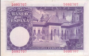 25 pesetas 1954 tras