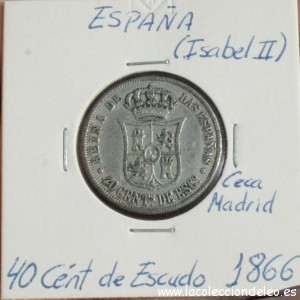 40 céntimos escudo 1886 isabel