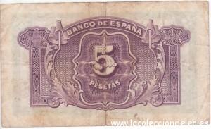 5 pesetas 1935 tras