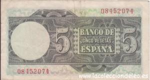 5 pesetas 1948 tras