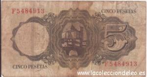 5 pesetas 1951 tras