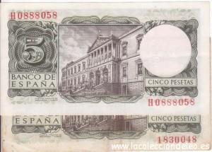 5 pesetas 1954 tras