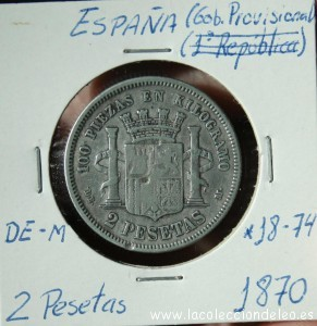 2 pesetas 1870 74