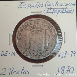 2 pesetas 1870 74 m