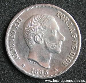 10 centavos peso 1885 anverso